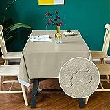 Carvapet PVC Manteles Impermeable Manteles Mesa Antimanchas Mantel Rectangular para Comedor Cocina (Café, 137x137cm)