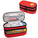 CURMIO Double Layer EpiPen Carrying Case for Kid, Portable Medicine Supplies Bag for 2 EpiPens, Auvi-Q, Syringes, Spacer, Nasal Spray, Home and Travel, Tangerine