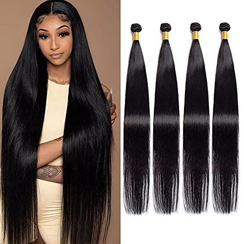 Maxine Brazilian Long Silky Straight Virgin Human Hair 4 Bundles 40x4 Inches 100% Unprocessed Hair Weave Bundles Extensions Deals 10a Natural Color