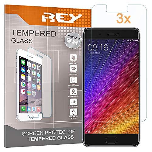 REY Pack 3X Pellicola salvaschermo per XIAOMI Mi 5S / MI5S, Pellicole salvaschermo Vetro Temperato 9H+, di qualità Premium
