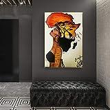 oioiu Klassische afrikanische Frau an der Wandmalerei