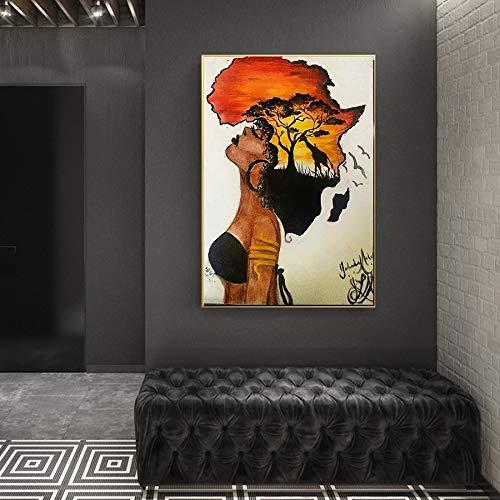 hetingyue Klassische afrikanische Frau Rahmen an der Wand abstrakte Sonnenuntergang Landschaft Wandkunst Leinwanddrucke und Poster Bilder Dekoration rahmenlose Malerei 75x100cm