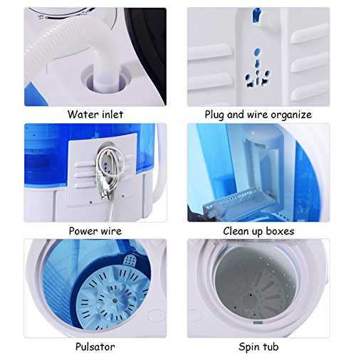 Giantex 16lbs Portable Mini Washing Machine Gravity Drain Compact Twin Tub Washer Spinner, Ideal for Dorms, Apartments, RVs, Camping