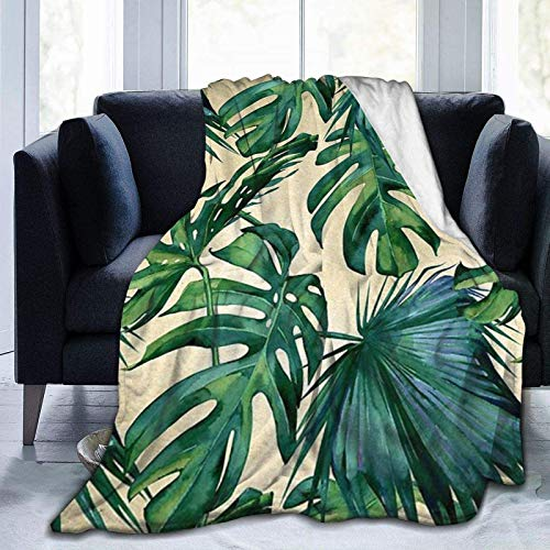 Romance-and-Beauty Coperta in Pile di Flanella con Stampa di Foglie di banano Verde Coperta Ultra Morbida in Velluto 50'x40'
