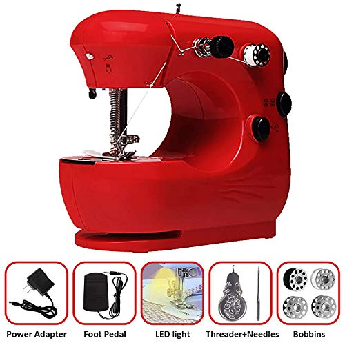Mcree Mini máquina de coser portátil con 2 puntadas integradas, modelos operados a mano y pie, máquina de reparación para el hogar, herramienta de mano para adultos para ropa de tela (rojo, tipo 1)