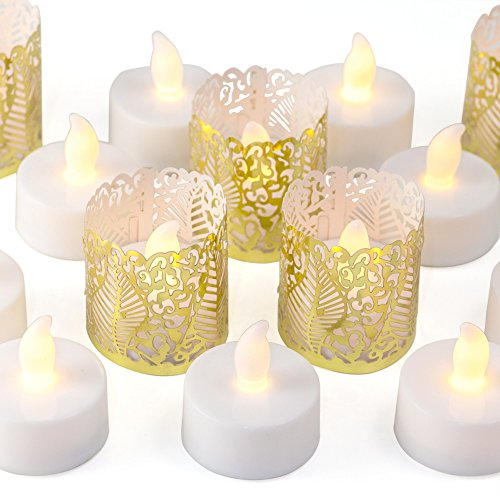 Frux Home and Yard 24 Flameless Flickering LED Tea Light - Battery Operated Candles, Holders and Gold Decorative Votive Wraps Included