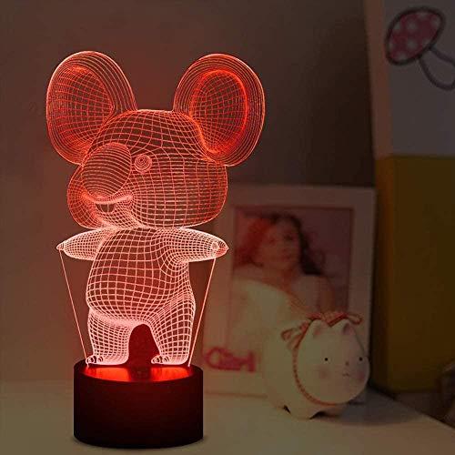 3D Koala - Lámpara LED de ilusión de animales para decoración de habitación de niños con mando a distancia, 16 colores que cambian de color único, regalo de cumpleaños para niños, niños y niñas