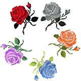 Woohome Flores Bordadas para Ropa 5 Pz Patch Sticker Rosa Flores Coser Parches Apliques para La Camiseta Jeans Sombrero Pantalon Bolsas