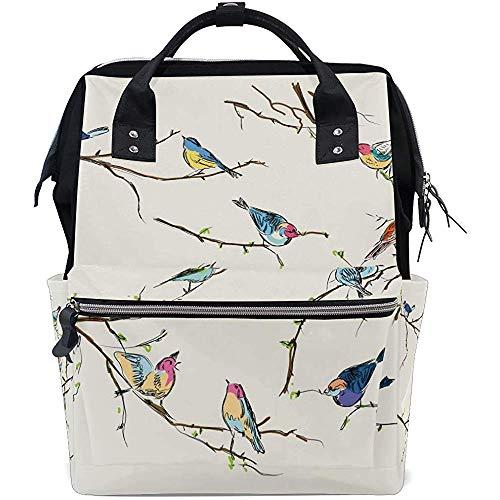 Mummy Backpack Vintage Little Bird Casual Zipper Diaper Sac À Dos Papa Bébé Sacs Grande Capacité Multifonction Voyage Sacs À Dos Maman Unisexe 28X18X40Cm