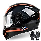 FreedConn Bluetooth Integrated Motorcycle Helmet, DOT Full Face BM12 Communication System Motorcycle Helmet with 500m FM...
