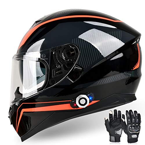 FreedConn Bluetooth Integrated Motorcycle Helmet, DOT Full Face BM12 Communication System Motorcycle Helmet with 500m FM Radio/ MP3, 2-3 Riders Pairing Intercom (Multi-Color, XXL)