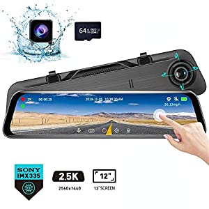 "Karsuite M7 Mirror Dash Cam 2560x1440P Dash Camera for Cars 12"" Touch Screen Support 170° Wide Angle,WDR Night Vision, G-Sensor,Parking Assistance, with 64GB TF Card"