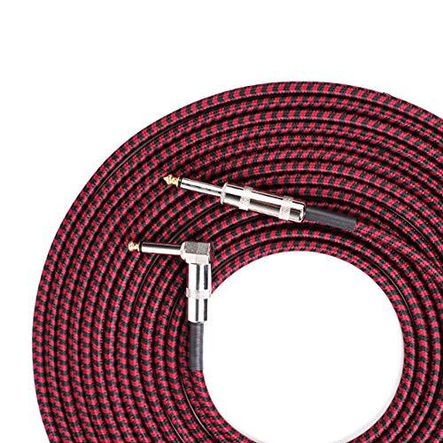 Yiwa GT-L3 6,35 mm mannelijk op 6,35 mm mannelijk stereo kabel voor staafmixer elektrische gitaar mono kabel monokanaal 10M Zwart en rood.