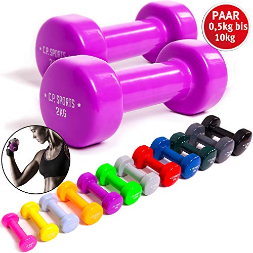 C.P. Sports Gymnastikhanteln 0,5KG - 0,75KG - 1,0KG - 1,5KG - 2,0KG - 2,5KG - 3,0KG - 4,0KG - 5,0KG - 6,0KG - 8,0KG - 10KG - Kurzhantel, Vinyl Hanteln, Faust Hantel, Gewichte, Fitness (2 x 1,5 KG)