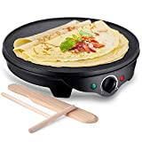 JYDMIX Crepe Maker Machine | Nonstick 12'' 1300W Electric Pancake Maker - Batter Spreader,...