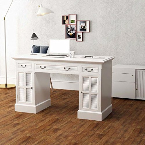 vidaXL Bureau à Double Piédestal Table d'Ordinateur Blanc 140 x 48 x 80 cm