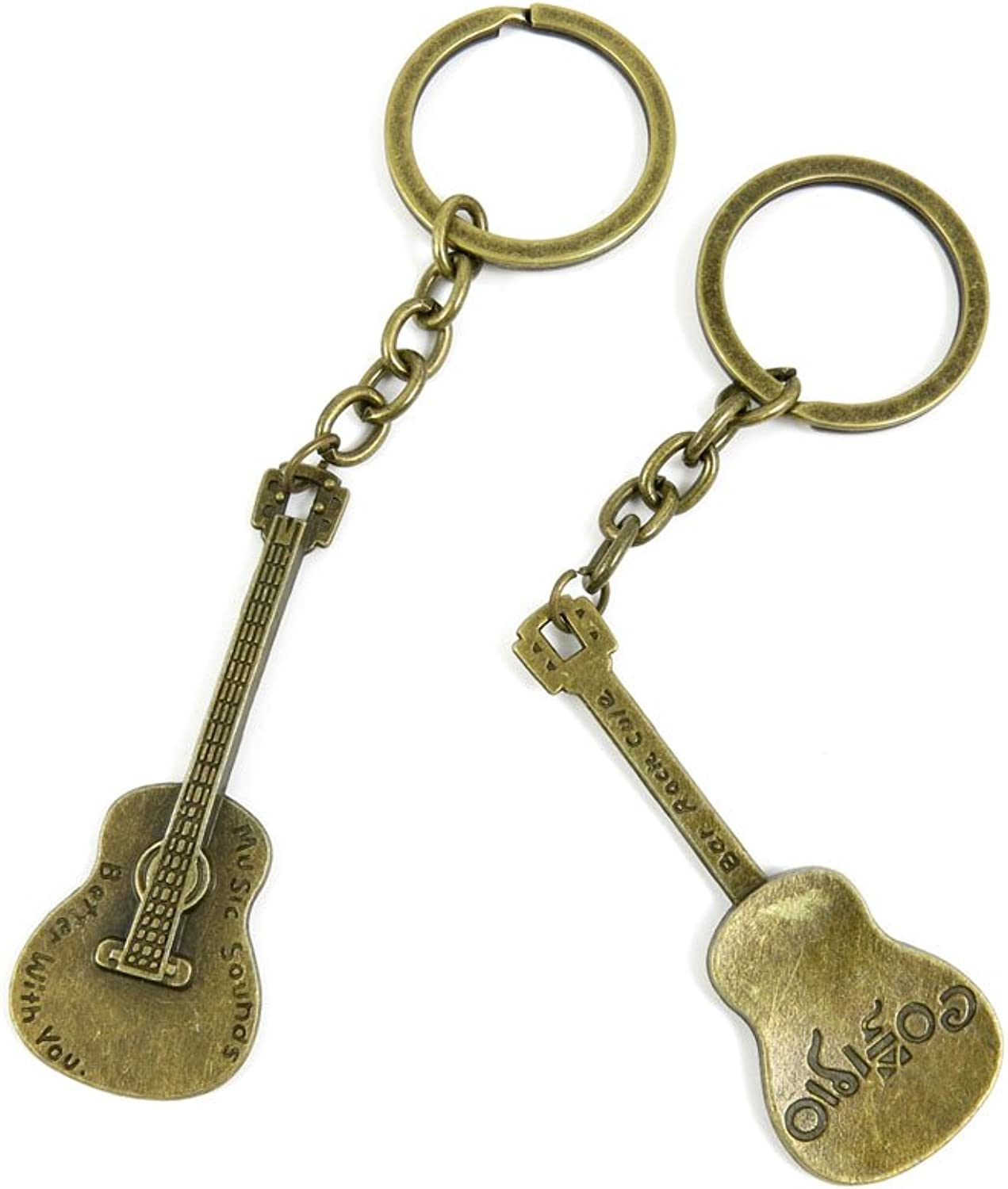 100 PCS Keyrings Keychains Key Ring Chains Tags Jewelry Findings Clasps Buckles Supplies N6FL2 Guitar
