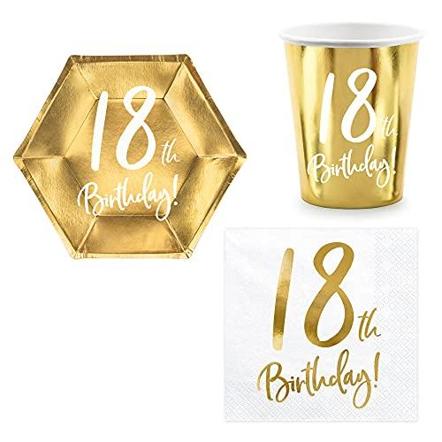 Set 44 pezzi - Kit Coordinato tavola 18 Anni - Colore Oro Lucido - Cinquantesimo Compleanno - decoro buffet feste - 12 piatti + 12 Bicchieri + 20 tovaglioli