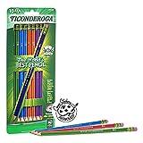 TICONDEROGA Pencils, Wood-Cased Graphite, #2 HB Soft, Pre-Sharpened, Assorted Color Barrels, Black Lead, 10-Pack (13932)