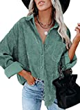 Sidefeel Women Corduroy Long Sleeve Button Down Shirt Oversized Jacket Tops XL Green