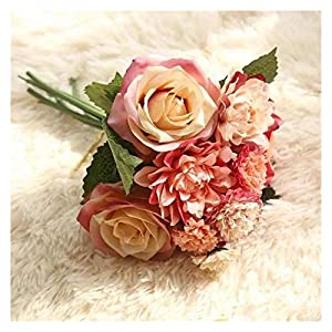 Artificial Flowers 1 Bundle Dahlia Rose Flower Wedding Bouquet Bride Bridesmaid Holding Silk Flowers