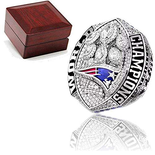 Rugby campeonato anillo réplica Inglaterra Patriots 9-12 tamaño completo recuerdos de ventilador Super Bowl 2018-2019 anillo con caja de madera, 11