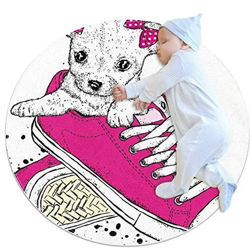 LORVIES Leuke Puppy Met Strikken In Sneakers Mooie Hond Ronde Ronde Ruimte Tapijt Art Deco Antislip Achterkant Tapijt Schuim Mat Woonkamer Slaapkamer Studie Kinderen Speelkamer Super Zachte Tapijt Vloermat 2.3-Voet Diameter