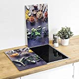Juego de 2 tablas de cristal para tapar la cocina, tablas de cortar, tabla de cristal, tabla de servir, tabla de especias