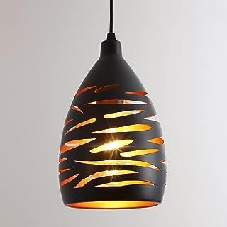 Moderne LED Suspension Luminaire, E27 Lustre Plafonnier Industriel, Lampe De Fer Creux En Métal Cage Pendentif Abat-Jour N...
