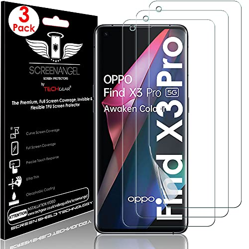 TECHGEAR [3 protectores de pantalla para Oppo Find X3 Pro 5G [Screen Angel Edition] [Compatible con fundas] [Sin burbujas] [Cobertura de pantalla completa] Película de TPU flexible transparente HD