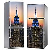 MEGADECOR Vinilo Adhesivo Decorativo para Nevera, Especial Libre De Burbujas, Edificio Empire State, Foto De Tarde (200cm x 70cm)