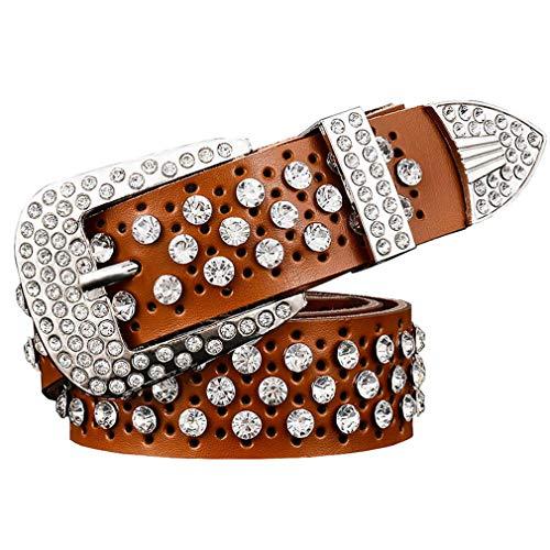 Yueling Mode Strass Echtes Leder Gürtel Für Frauen Luxus Breite Dornschließe Gürtel Frau Zweite Schicht Rindsleder Strap Brown 115cm