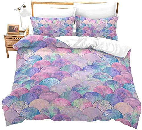 HUA JIE Fish Scales Duvet Cover Pink Purple Mermaid Pattern Bedding Set for Adult Women Girls Bedroom Decor Comforter Ocean Theme Bedspread with Zipper Ties