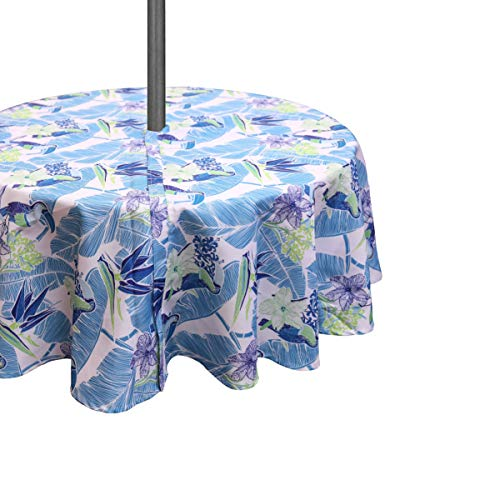 Yuang Spring & Summer Outdoor Tablecloth, Spill Proof and Waterproof with Zipper and Umbrella Hole, Host Backyard Parties, BBQs, Family Gatherings - (Seats 2 to 4), 60'' Diameter (Parrot/Zipper)