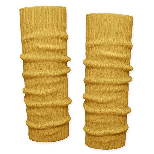 SoulCats 1 Paar Grobstrick Bein Stulpen unifarben in 7 verschiedenen Farben, Senfgelb, Einheitsgröße