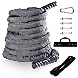 Sotech Fitness Battle Rope with Anchor Strap & Wall Mount Bracket Kit Set,Durable Nylon Grey...