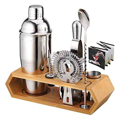WANGIRL Cocktail 10pcs Premium Cocktail Shaker Set Professional Bartender Kit with Recipe Book Stainless Steel Home Cocktail Bar Tool Set DIY Kit Includes Martini Shaker Jigger and More Kit