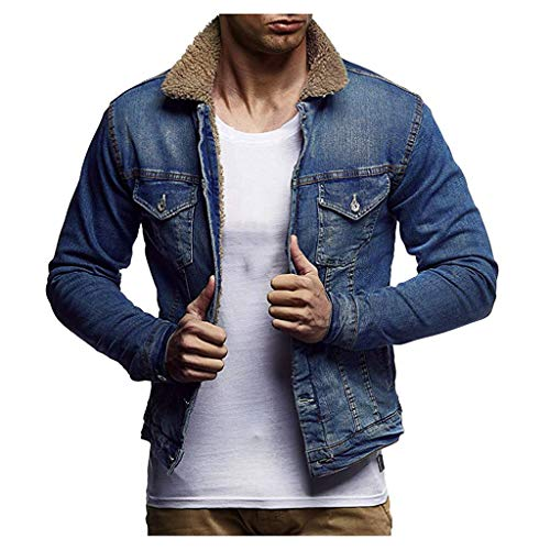 Save %34 Now! Men Denim Jacket Slim Fit Solid Padded Plush Winter Warm Vintage Button Down Western B...