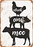 Scott397House Metal Tin Sign, Cluck, Oink, Moo, Chicken, Pig, Cow Vintage Wall Plaque Man Cave Poster Decorative Sign Home Decor for Indoor Outdoor Birthday Gift 8x12 Inch