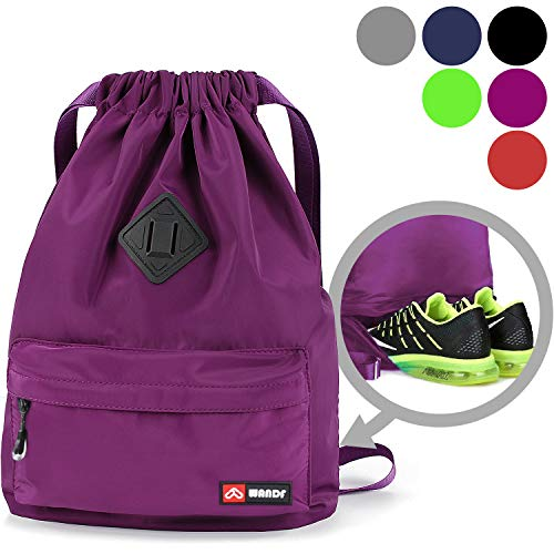 Drawstring Backpack String Bag Sackpack Cinch Water Resistant Nylon for Gym Shopping Sport Yoga by WANDF (Purple6030)