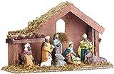 Britesta Weihnachts Krippen: Klassische Holz-Weihnachtskrippe mit handbemalten Porzellan-Figuren (Weihnachtskrippe Porzellanfiguren)