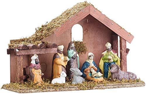 Britesta Deko-Weihnachtskrippen: Klassische Holz-Weihnachtskrippe mit handbemalten Porzellan-Figuren (Krippen Stall)