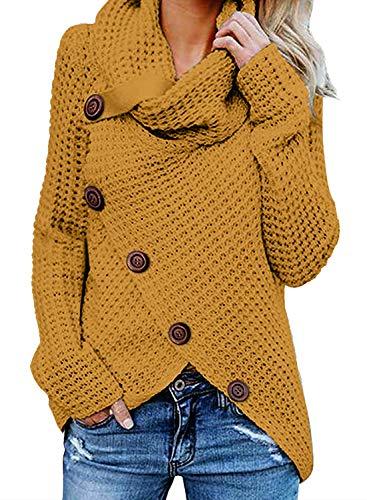 Yidarton Pullover Damen Warm Asymmetrische Strickpullover Rollkragenpullover Solid Wrap Gestrickt Langarmshirts Oberteile Causal (B-Gelb, S)