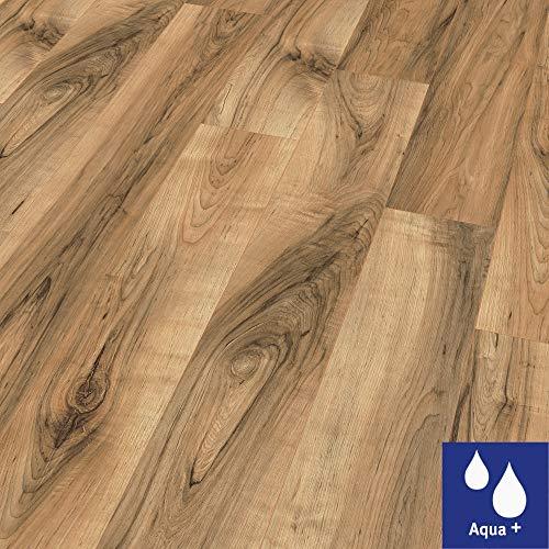 EGGER Home Aqua+ Laminat braun Holzoptik - Perganti Nussbaum braun EHL075 (8mm, 1,994 m²) Laminatboden wasserfest - Feuchtraum geeignet