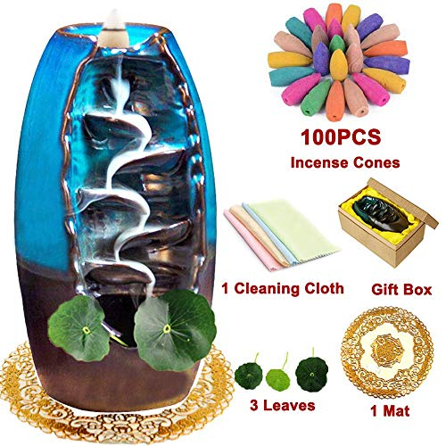 XinXu Incense Burner, Waterfall Incense Holder Ceramic Incense Burner Home Decor Aromatherapy Ornament with 100 Pcs Backflow Incense Cones,Cushion, Artificial Lotus Leaf