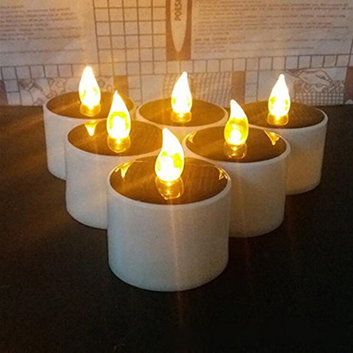HAPPY ELEMENTS 6 Pcs Solaire Led Bougie Mariage Décoration romantique blanc chaud Tea Light