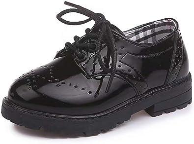 Scarpe Stringate Basse per Bambini e Ragazzi Oxford Brogue Vernice Scarpe Eleganti Bambina Impermeabili Leggere 21-37
