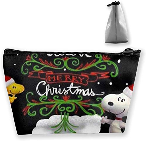 Bolsa de maquillaje Bolsa de cosméticos Christmas Snoopy Bolsa de almacenamiento trapezoidal multifuncional Kit de viaje Organizador