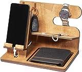 Svuotatasche stazione di ricarica telefono in legno   docking station   porta orologio   regalo uomo e donna   100% made in Italy