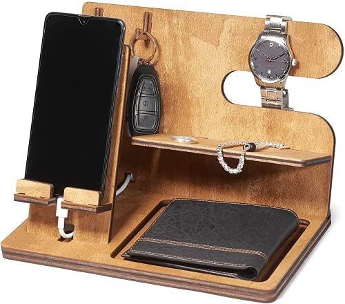 Svuotatasche stazione di ricarica telefono in legno | docking station | porta orologio | regalo uomo e donna | 100% made in Italy